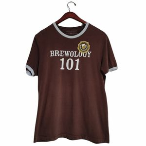 """American Eagle Brown Graphic Patch T-Shirt """"Brewology 101"""""""